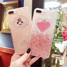 ФОТО case for iphone 6 6s 7 plus 8 plus x fashion cute glitter floating beads transparent soft tpu silicone phone case capa coque