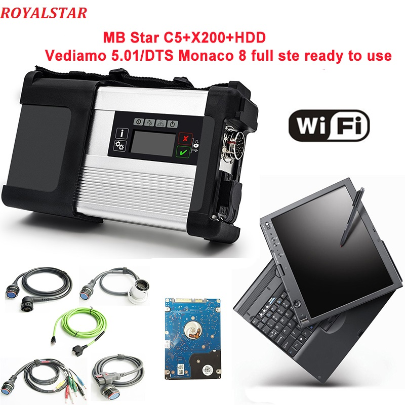 Звезда C5 сканер с HDD/SSD V09.2018 программного обеспечения в ноутбуке X200t PC Поддержка Wi-Fi для MB транспортных средств весь диагностический C5 SD подкл...