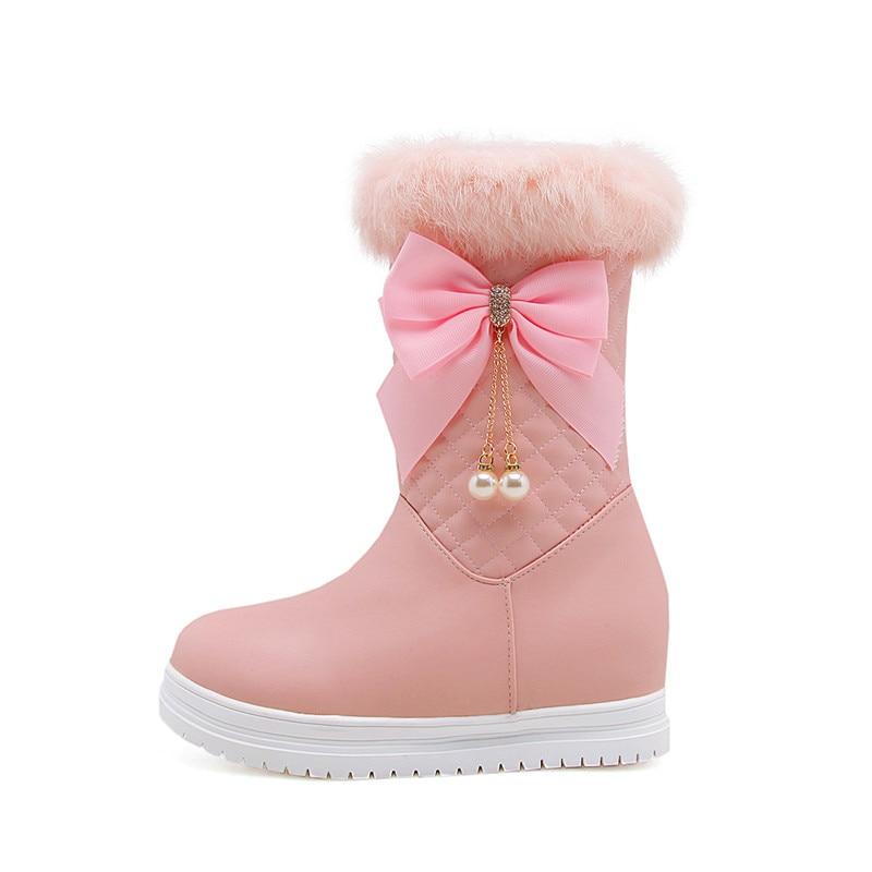 Chaussures rose Plat Avec Memunia blanc Chaud Garder Papillon Au Femmes Nouvelle Occasionnel Bout De Noeud Mi Arrivée mollet Noir D'hiver Bottes 2018 Rond Neige RTwRqBf