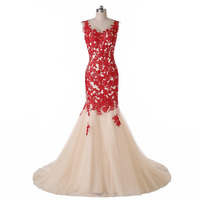 Real Image New V-Neck Red and Champagne Mermaid Backless Evening Dresses Formal Gowns Custom Size 2 4 6 8 10 12 14 16 18++ E155