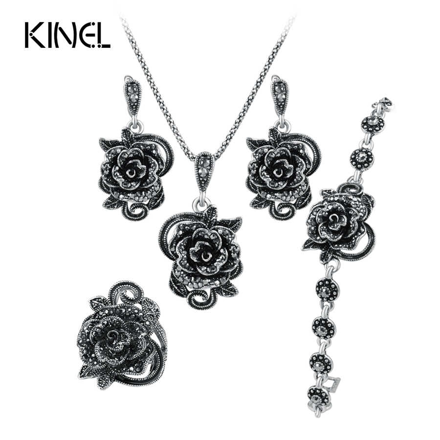 Hot Roses Jewelry Set For Women Antique Silver Color Wedding Ring And Necklace Earrings Bracelet 4pcs Vintage Jewelry Sets
