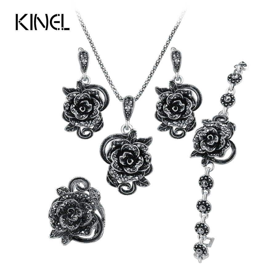 Hot Roses Jewelry Set For Women Antique Silver Color Wedding Ring And Necklace Earrings Bracelet 4pcs Vintage Jewelry Sets a suit of charming hollow out necklace bracelet ring and earrings for women