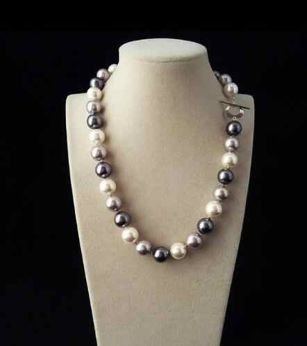 New 919+++Hot sale new Real 12mm Mix Black White Gray South Sea Shell Pearl Necklace 18''