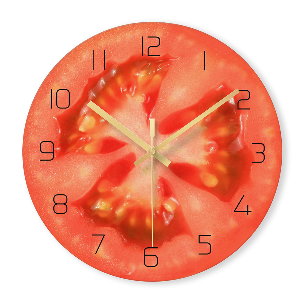 Orange Fruit Design Glass Kitchen Wall Clock