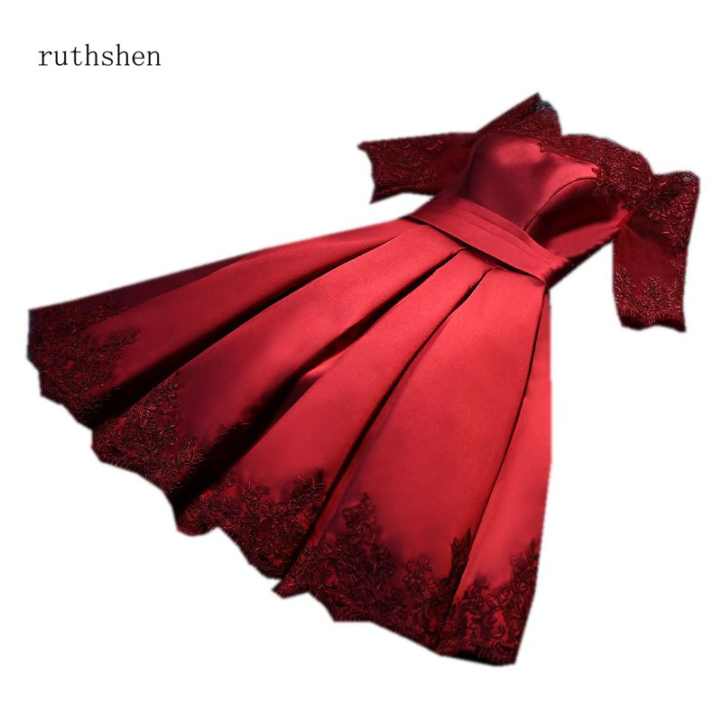 ruthshen 2018 New Burgundy Pink   Prom     Dresses   Knee Length Appliques A-Line Party   Dress   Off The Shoulder Formal Gown Short Sleeves