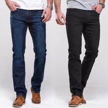 GRG גברים של ג ינס קלאסי ישר Fit למתוח ג ינס ג ינס מזדמן כחול שחור מכנסיים למתוח ארוך מכנסיים
