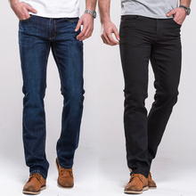 Grg calças de brim masculinas clássico ajuste em linha reta estiramento denim jeans casual azul preto estiramento calças compridas