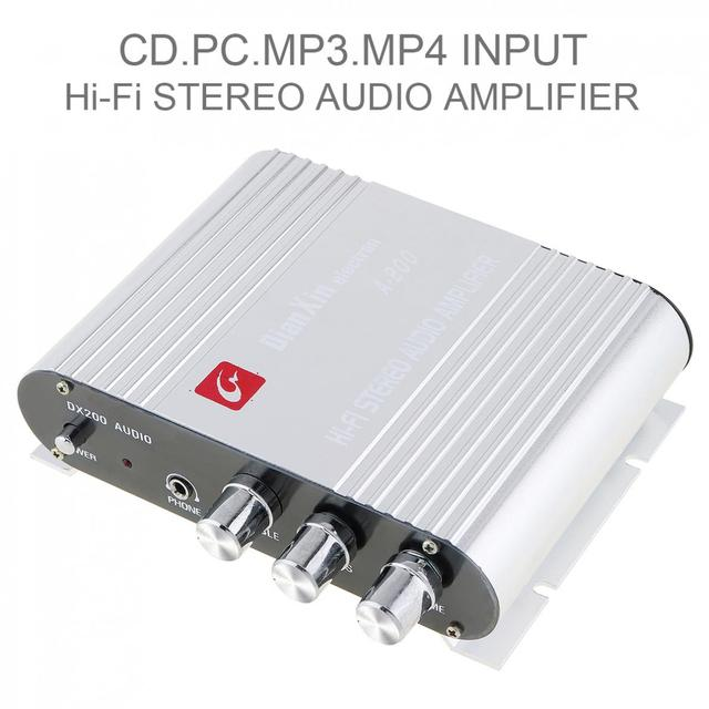 Special Price DX-200 DC12V 2.0 Channel Power Hi-Fi Stereo Audio Car Amplifier for DC Battery Car /  Computer / Car / CD