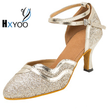 HXYOO Ladies Ballroom Latin Sequined Dance Shoes Women Salsa Tango Dancing Shoes Soft Sole  3 Colors WK048