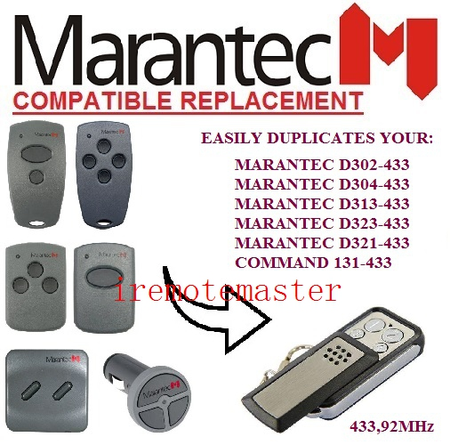 MARANTEC D302,D304,D313,D323,D321,Command 131 replacement remote control 433mhz marantec command 131 433 d302 433 d304 433 d313 433 d321 433 d323 433 repalcement remote control 433mhz free shipping