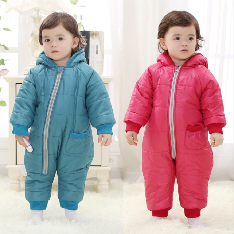 ФОТО 2017 Fleece Thick Baby Rompers Winter Coats 3 Layers Solid Infant Hooded Jumpsuits Baby One-Piece Clothes Warmer Bebe Roupas