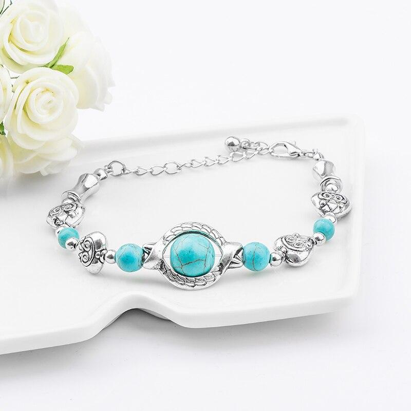 Bijoux Femmes Hommes Tibetan Silver Bracelet Feather Bracelet Turquoise Bracelet