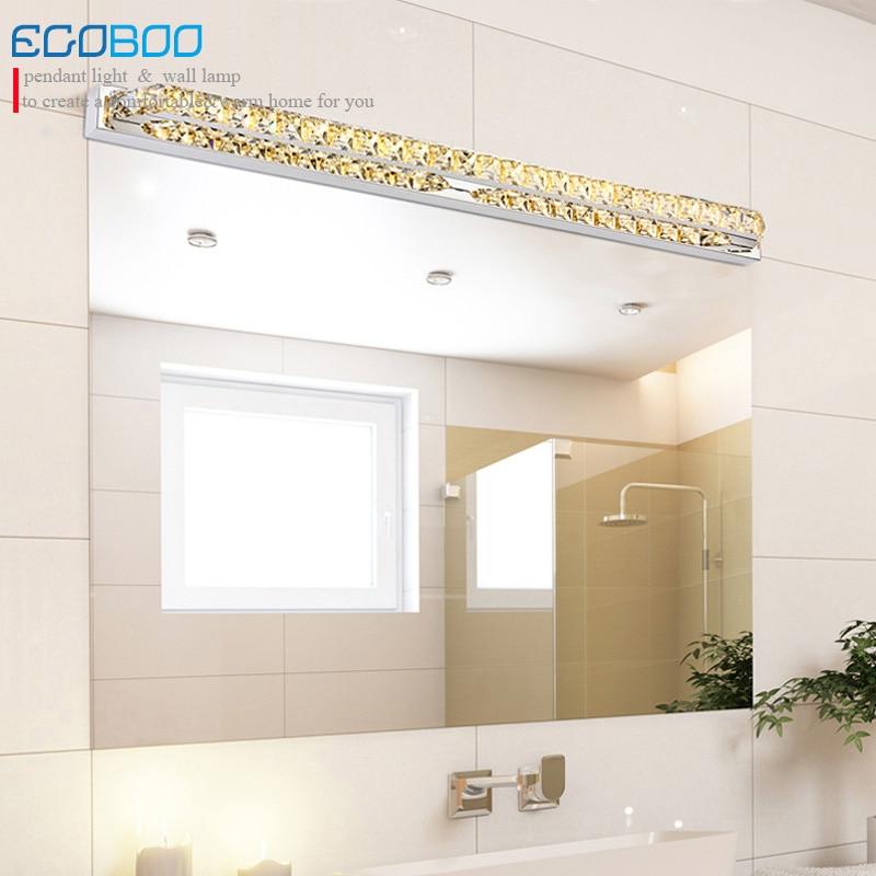 EGOBOO LIGHTING 26W super long 100cm LED lamp 220v for bathroom transparent mirror lighting Fixtures Champagne&write crystal