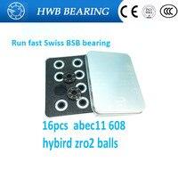 Free Shipping 16pcs Ceramic Inline Speed Skate Bearings 608 ABEC11FreeLine Skate Bearing Inline Roller Skate Wheels