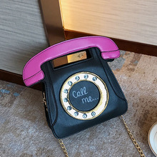 The New Womens Shoulder Bag Popular Fashion PU Telephone Style Creative Funny Personalized Phone Messenger