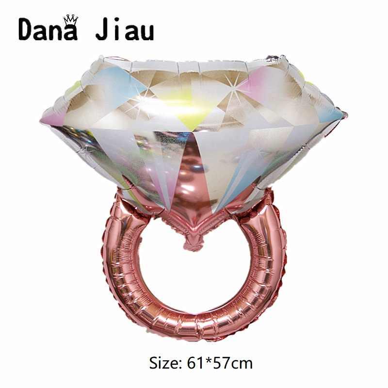 Grande Anel de Diamante de Ouro Folha De Alumínio Balões Proposta de Casamento Presente do Dia Dos Namorados TE AMO Coração Vermelho Bola Decorações Do Partido