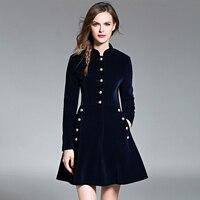 2016 New Winter Collection Elegant Women Velvet Dresses High Quality Slim Dress Vintage Female Padded