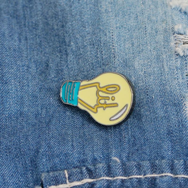 Brooches pins Cartoon light bulb pins backpack shirt jeans decorative Women girl jewelry accessories in Brooches from Jewelry Accessories