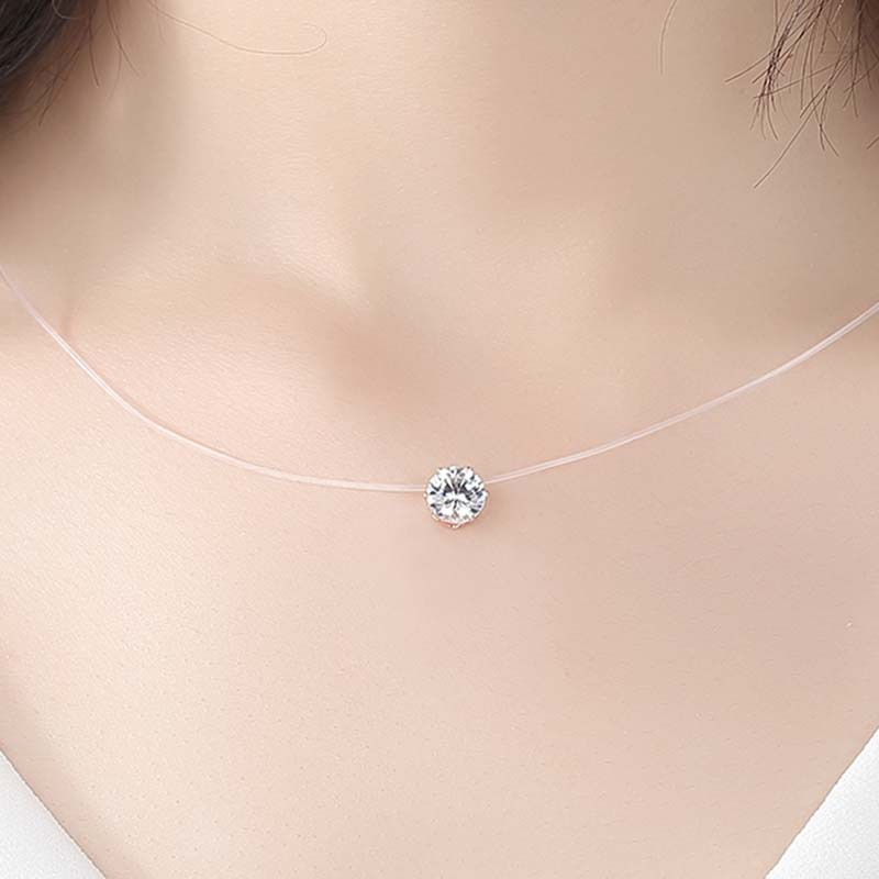 Transparent Invisible Fishing Line Female Chain Necklace Fashion Rhinestone Zircon Pendant Choker Collier Femme Women Gift in Pendant Necklaces from Jewelry Accessories