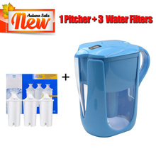 Household Straight Drink Filtered Tap Water Kettle Filter 1 Pitcher+3 Cartridge Water Filters Carbon for Brita Water Filter Blue