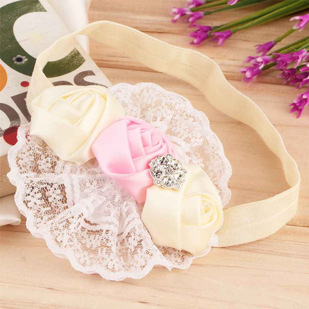 Nouvelle offre spéciale mode Rose fleur cristal filles bandeau bébé blanc dentelle cheveux bande infantile fille feutre fleur écharpe cheveux bandes