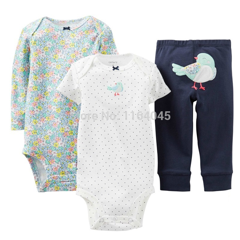 GSLL3-025, Original,Baby Girls 3-Piece Set , With 2 Pieces Bodysuits and 1 Piece Pants, Free Shipping