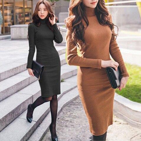 f28e10124ba Autumn Winter New Knit Slim Dress Turtleneck Long Sleeve Knee-Length  Sweater Dresses Women Clothing Color Black Orange DY0