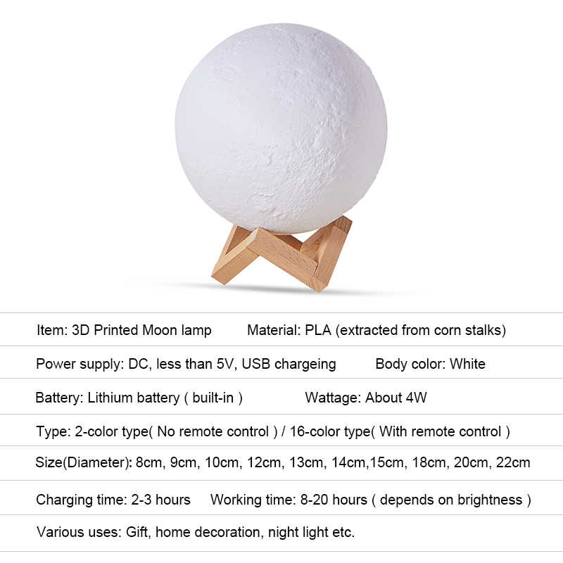 3D ירח מנורת Led חיישן שולחן שינה המיטה מנורת חג המולד מתנת USB נטענת 16 צבע מרחוק שליטה