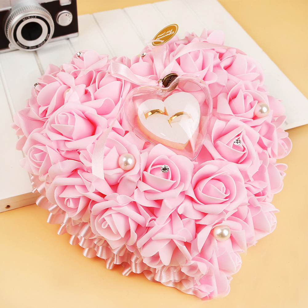 Valentine\\\'s Day present Love Heart Shape Rose Flowers Ring Box ...