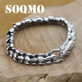 SOQMO Genuine 925 Sterling Silver Jewelry Heavy Dragon Scale Bracelet For Men 20CM Vintage Punk Style SQM012