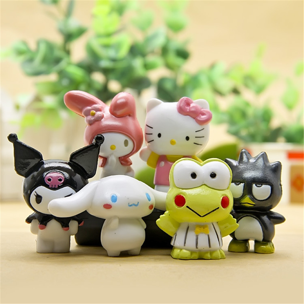 6pcs/set Kawaii Baby KT Cat Kids Toys Birthday Christmas Gift Cartoon DIY Hello Kitty Doll model Action Toy Figures N057 mini kawaii plush stuffed animal cartoon kids toys for girls children baby birthday christmas gift angela rabbit metoo doll