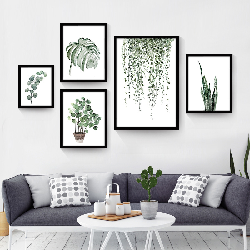 Watercolor tropical plant leaves canvas art print poster - Cuadros para habitacion de matrimonio ...