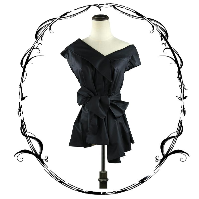 Fashion Style Steelsir Streetwear Spliced Retro Off Shoulder Sleeveless Blouse For Women Black/khaki Irregular Shirts Female Tops With Sashes Hot Sale 50-70% OFF Women's Clothing