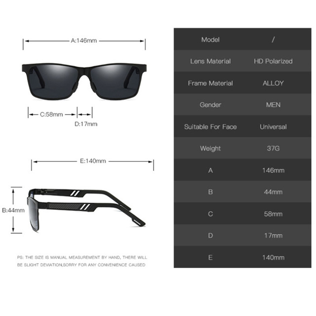 LeonLion HD Polarized Sunglasses Men Unisex Aluminum Square Brand Designer UV400 Classic Glasses Metal Goggle Eyewear For Men