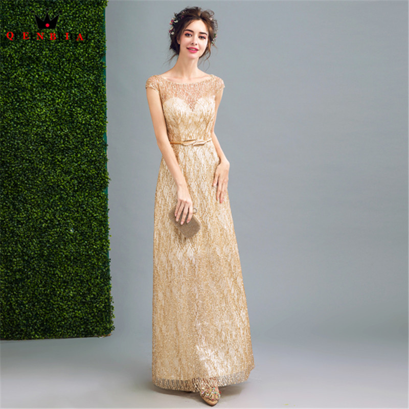 QUEEN BRIDAL Evening Dresses Straight Golded Sequin Long Formal Prom ...