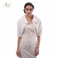 AW Half Sleeve Winter Wedding Faux Fur Jacket Bolero Wraps Bridal Coat Wedding Bolero Faux Fur