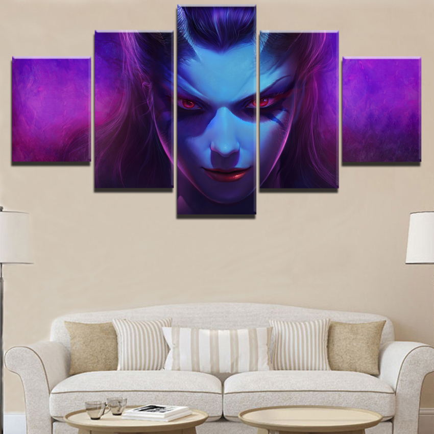 Home Decor Painting Game Poster 5 Panel DotA 2 Queen Of