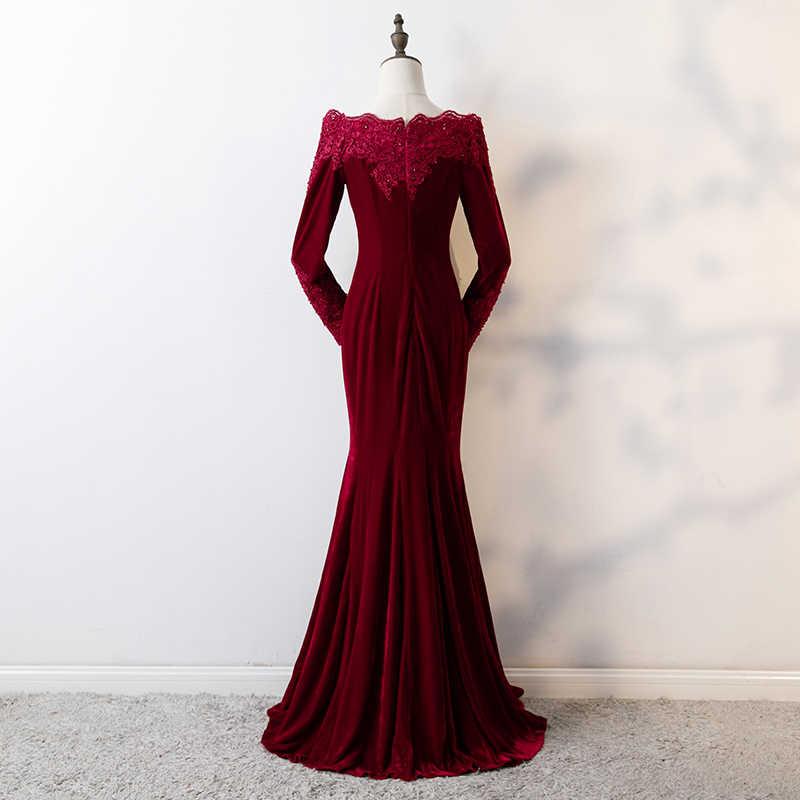 JaneVini sirena árabe Borgoña vestido de graduación de manga larga con cuentas terciopelo vestidos de dama de honor cuello barco apliques de encaje vestido Formal