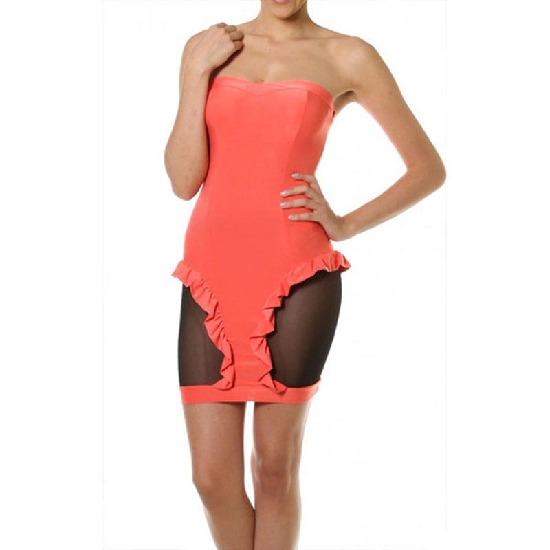 Strapless Patchwork Mesh Dress Women Sexy Party Vestidos Summer Ruffled Nightclub Bodycon Mini Dresses