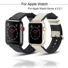 Leather Watchband For Apple Watch Series 4 3 2 1 Bracelet Strap For iwatch 44mm 40mm 38mm 42mm loop Wrist Watch Band Accessories цена