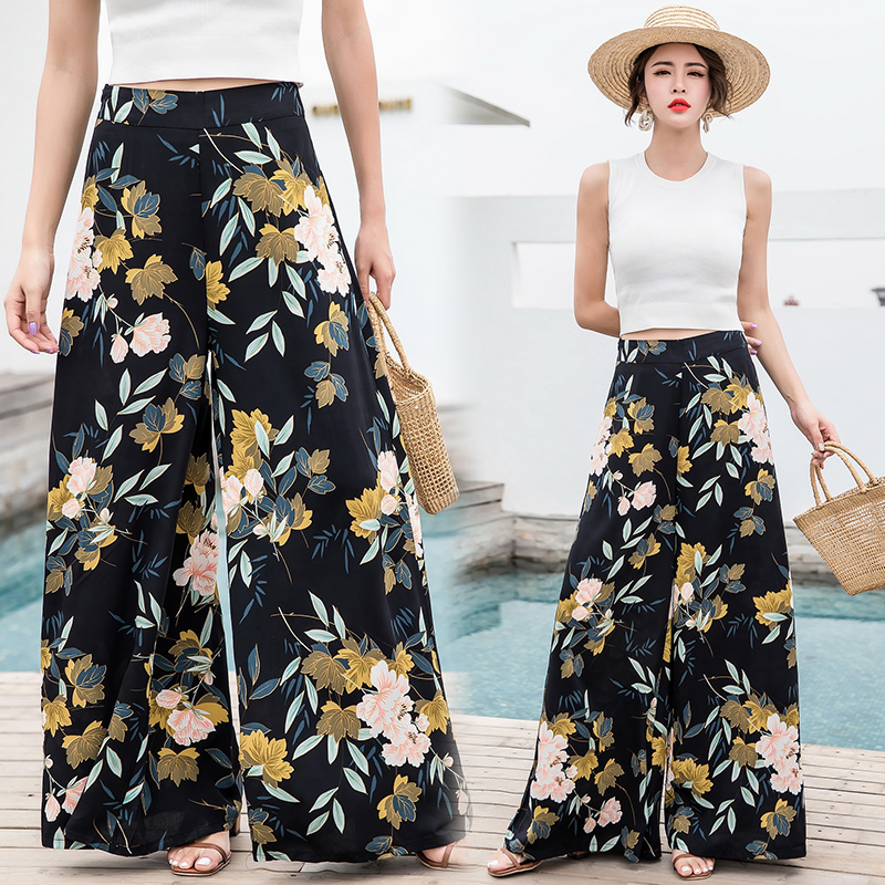 2018 Vintage Bohemian Wide-leg Pants High Waist Large Wide Leg Trousers Seaside Holiday Trousers Mopping
