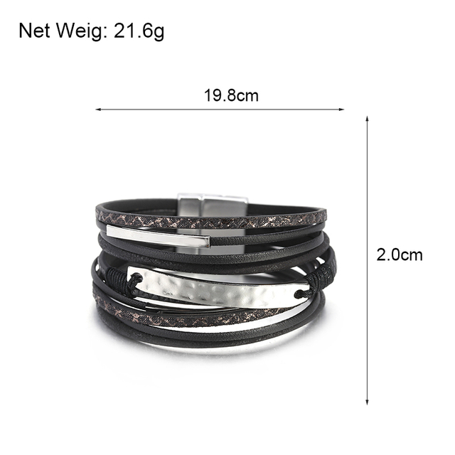 Leather And Metal Bracelet sizing dimensions