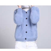 LOVELY-JINNUO 2018 new women mink cashmere cardigan sweater coat jacket Z002
