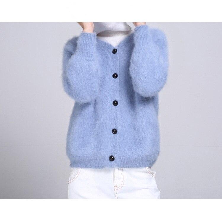 2019 新女性のミンクカシミアカーディガンセーターコートジャケット送料無料 Z002  グループ上の レディース衣服 からの カーディガン の中 1