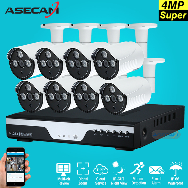 New Super Full HD 8ch 4MP Home Outdoor CCTV System Kit 8 Channel Array LED CCTV AHD Security Camera System Kit Motion Detection