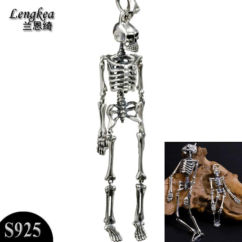 Hommes choker 925 en argent sterling rétro collier squelette modèle bijoux en argent hommes bijoux long collier hommes accessoires