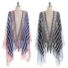 Women Summer Long Sleeves Swimsuit Cover Up Ethnic Geometric Plaid Vertical Stripes Printed Patchwork Kimono Cardigan Semi-Sheer