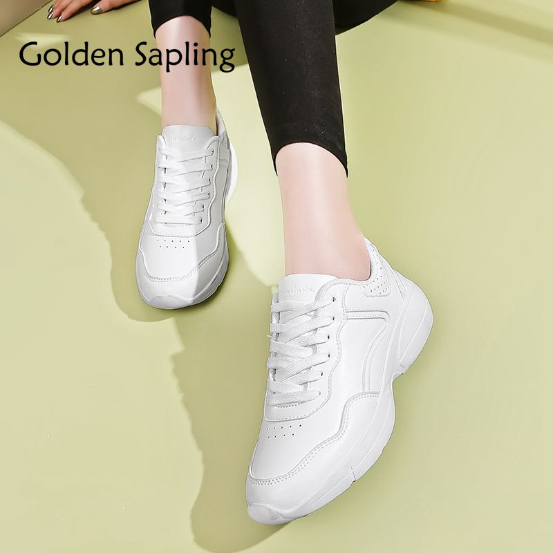 Golden Sapling White Women's Running Shoes Woman Sport Sneakers Breathable Leather Women Sport Shoes Trail Lightweight Sneakers цена