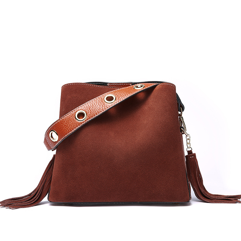 Design Tassel Suede Women Shoulder Bag Retro Genuine Nubuck Leather Women's Handbag Fashion New Lady Bucket Casual Crossbody Bag retro women s crossbody bag with hasp and suede design