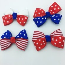2 PCS /LOT 4th of July Red White Blue American Flag Hair Bow Stars Stripes Ribbon цена и фото